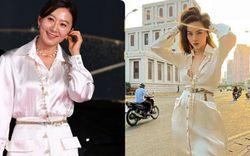 """""""Nữ hoàng phim ngoại tình"""" và Hà Hồ cùng diện 1 thiết kế váy: Bà mẹ 3 con thua chị đại U53 ở 1 chi tiết"""