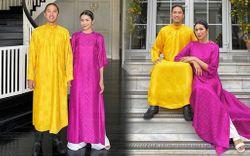 """Louis Nguyễn """"chiếm spotlight"""" của Hà Tăng ngay ngày mùng 1 khi diện bộ áo dài nổi nhất từ trước đến nay"""