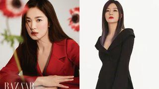 """Diện kiểu áo na ná, Triệu Vy trễ nại gợi cảm, Song Hye Kyo """"cao tay"""" chỉnh sửa nên bội phần kín đáo, thanh tao"""